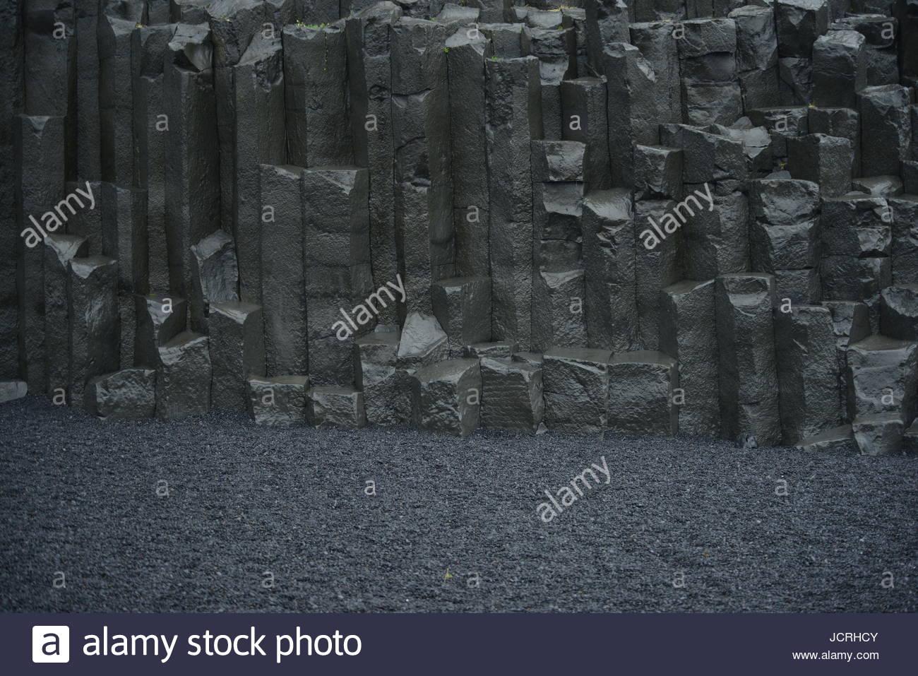 Basaltic Pillars in Iceland. - Stock Image
