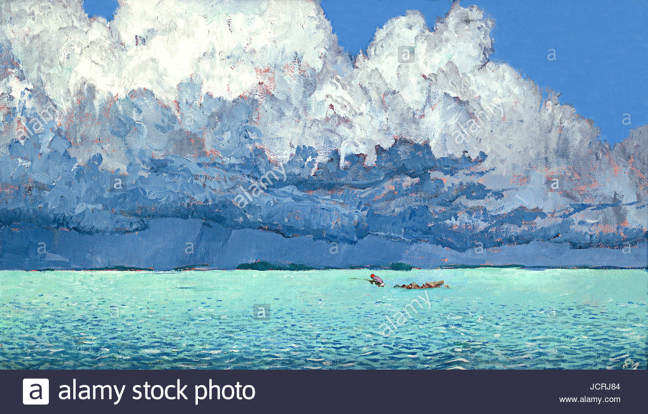 Storm clouds gather over turquoise water as shallow-water anglers continue to fish for bonefish and tarpon off the Stock Photo
