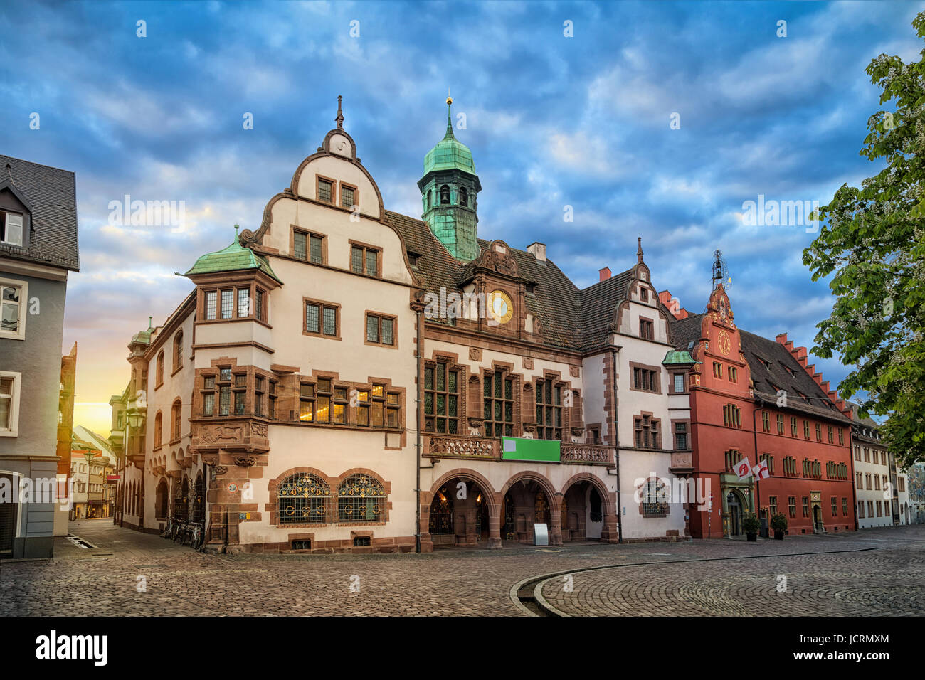 Old Town Hall (Altes Rathaus) on sunrise in Freiburg im Breisgau, Baden-Wurttemberg, Germany - Stock Image