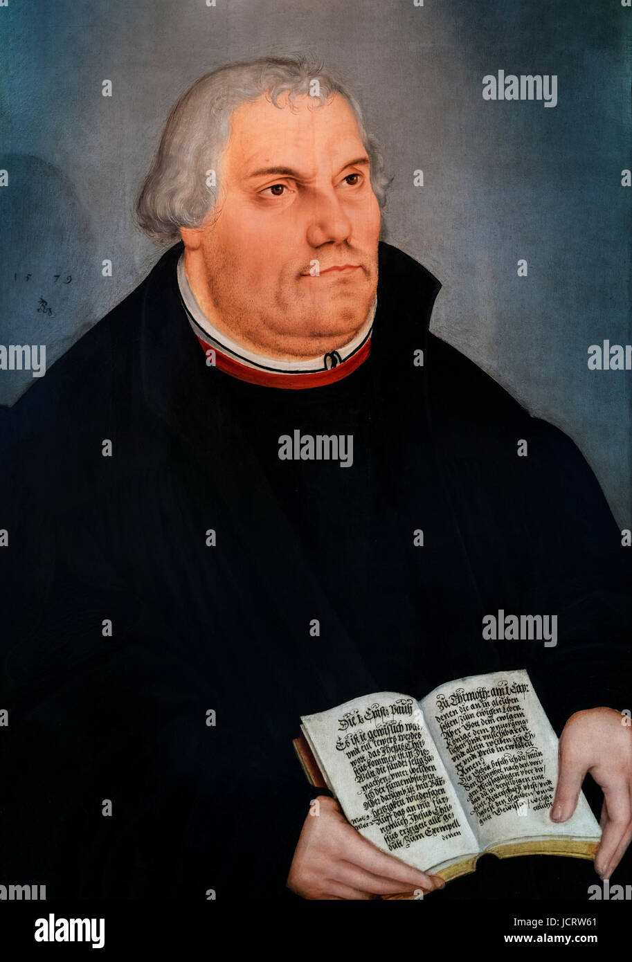Martin Luther (1483-1546). Portrait by Lucas Cranach the Younger, oil on panel, 1578 - Stock Image