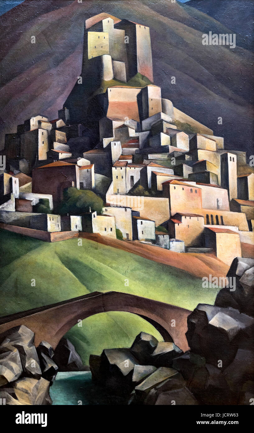 Alexander Kanoldt (1881-1939) painting entitled 'View of Subiaco' (Ansicht von Subiaco), 1924. - Stock Image