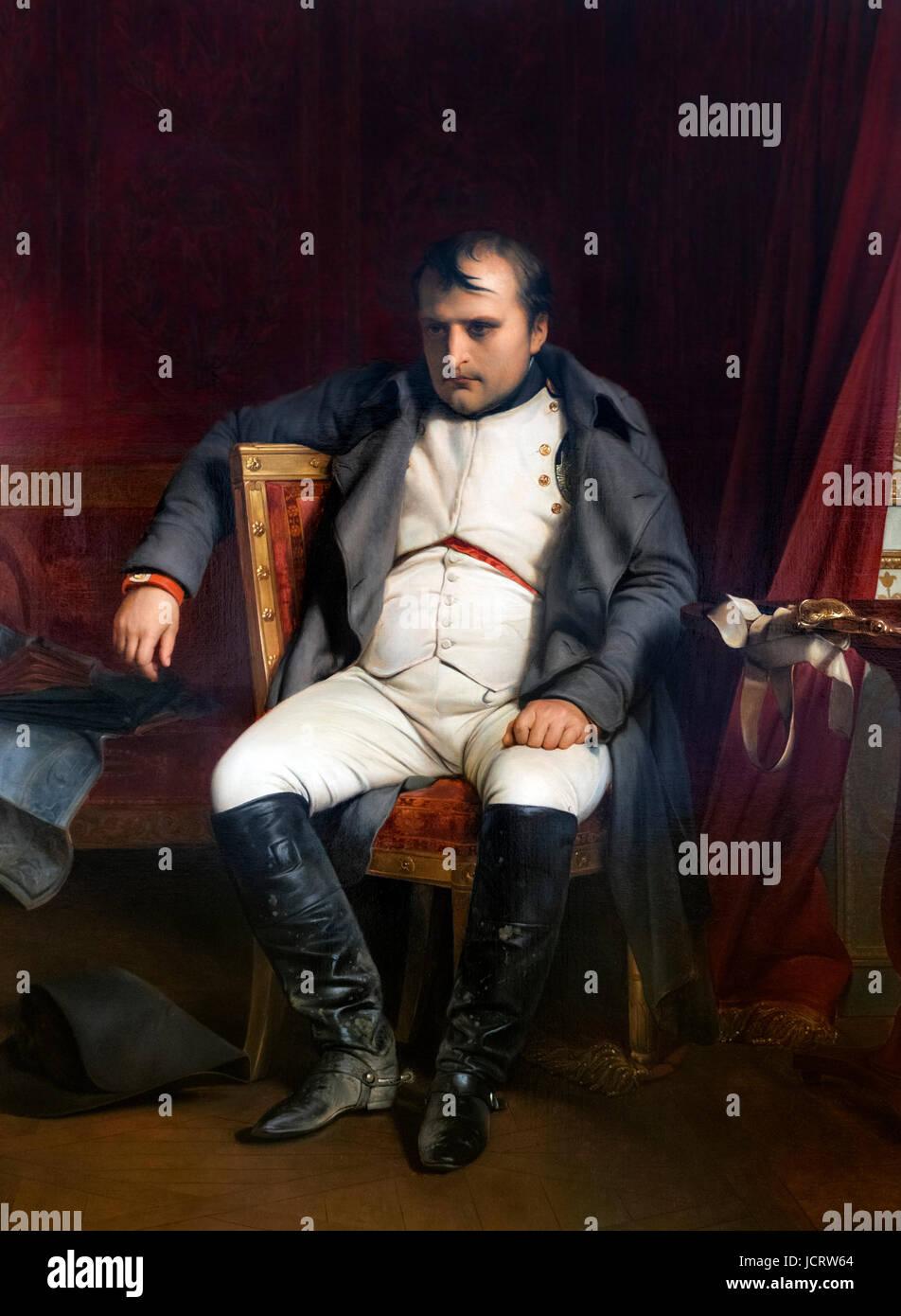 Napoleon Bonaparte. Portrait entitled 'Napoleon Bonaparte in Fontainbleau on 31st March 1814 after receiving - Stock Image
