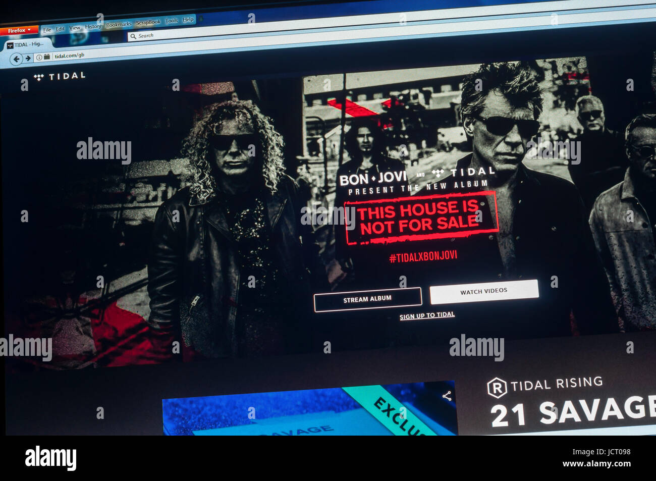Bon Jovi on the home page of Tidal.com, music streaming website. - Stock Image