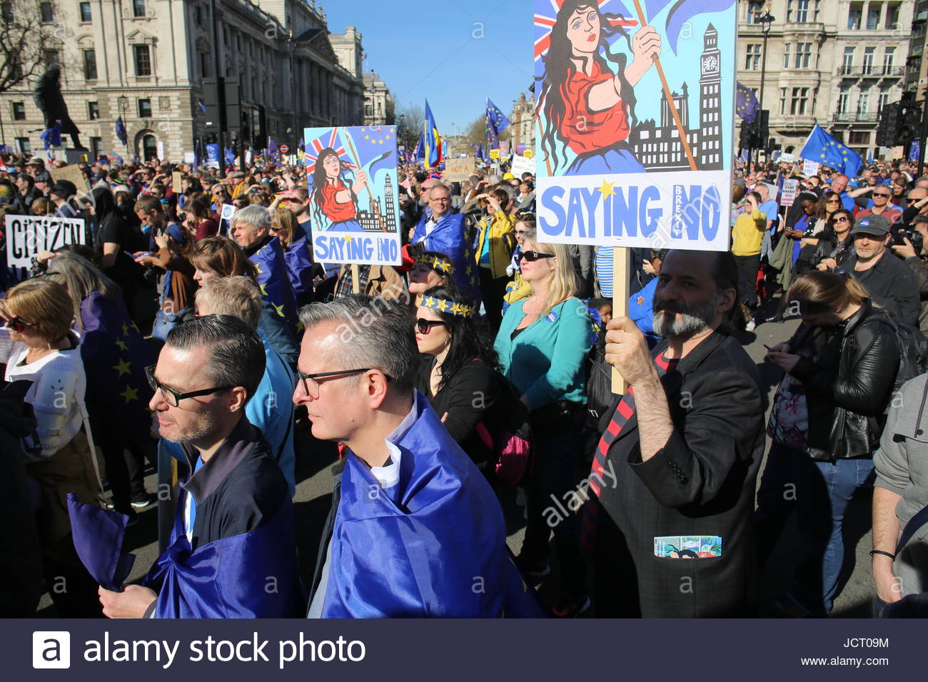 Anti-Brexit rally at Westminster in 2017 Stock Photo