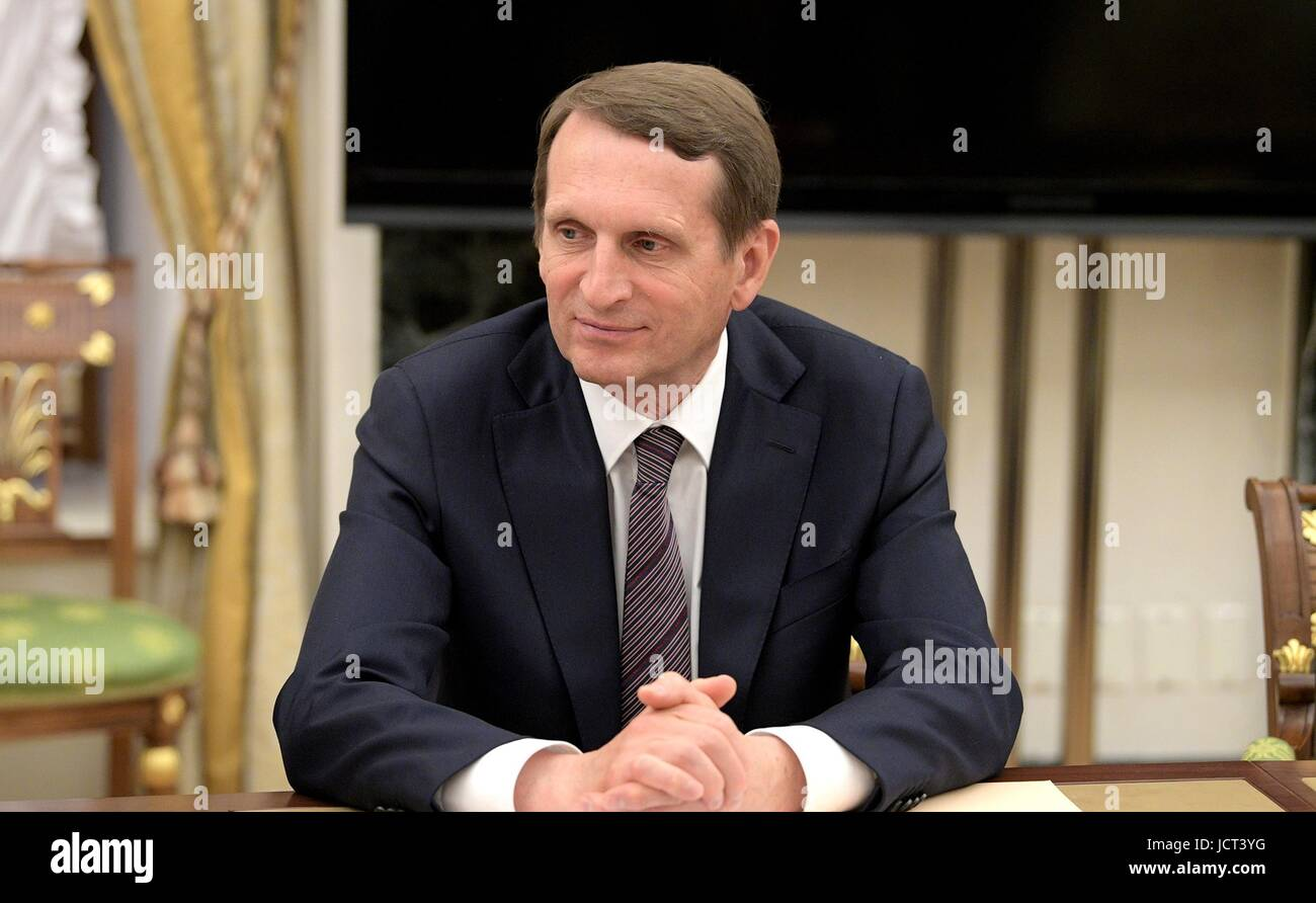 Director of the Russian Foreign Intelligence Service Sergei Naryshkin waits for a meeting of the Security Council - Stock Image