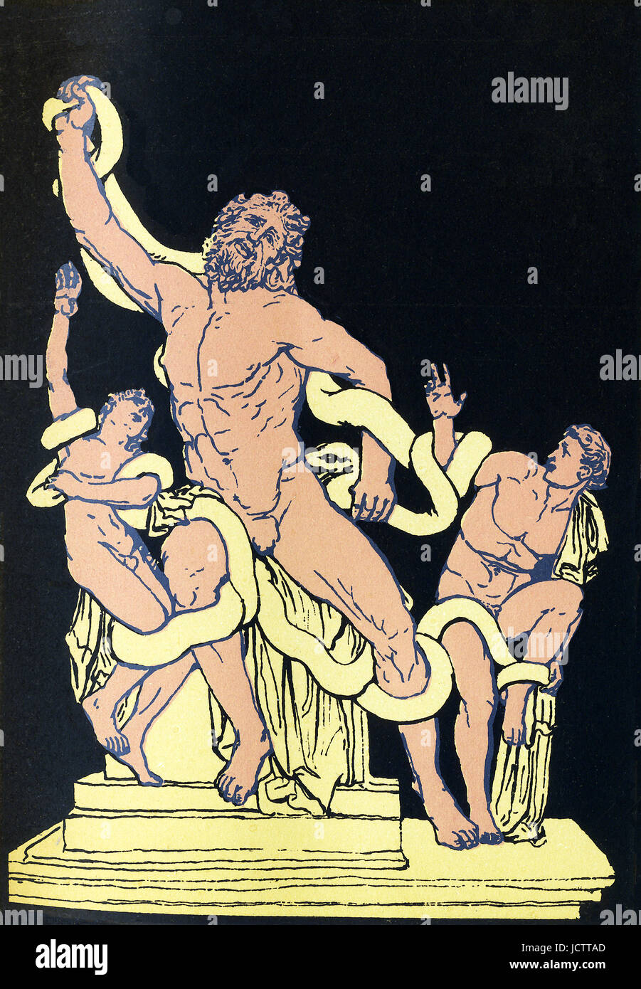 According to Greek mythology, Laocoon warned the Trojans about bringing the wooden horse fashioned by the Greeks - Stock Image
