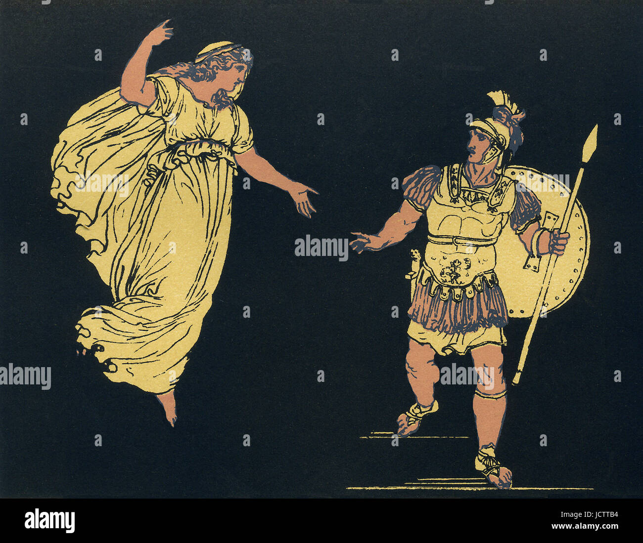 The Greeks have taken control of Troy and set it afire. The Trojan hero Aeneas prepares to escape Troy and capture - Stock Image