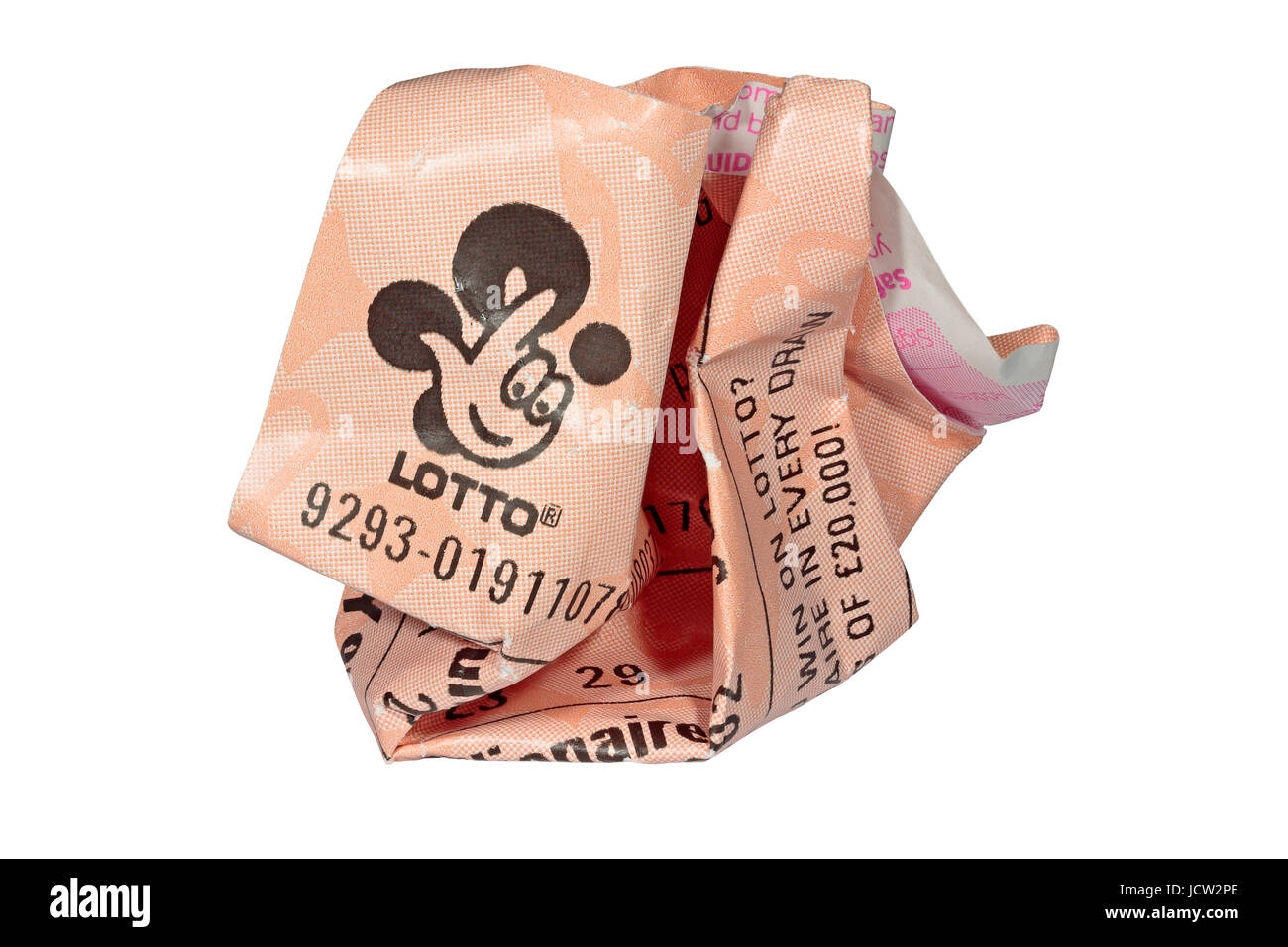 A crumpled lottery ticket - a screwed up £2 losing National Lottery / Lotto ticket - isolated on a white background - Stock Image