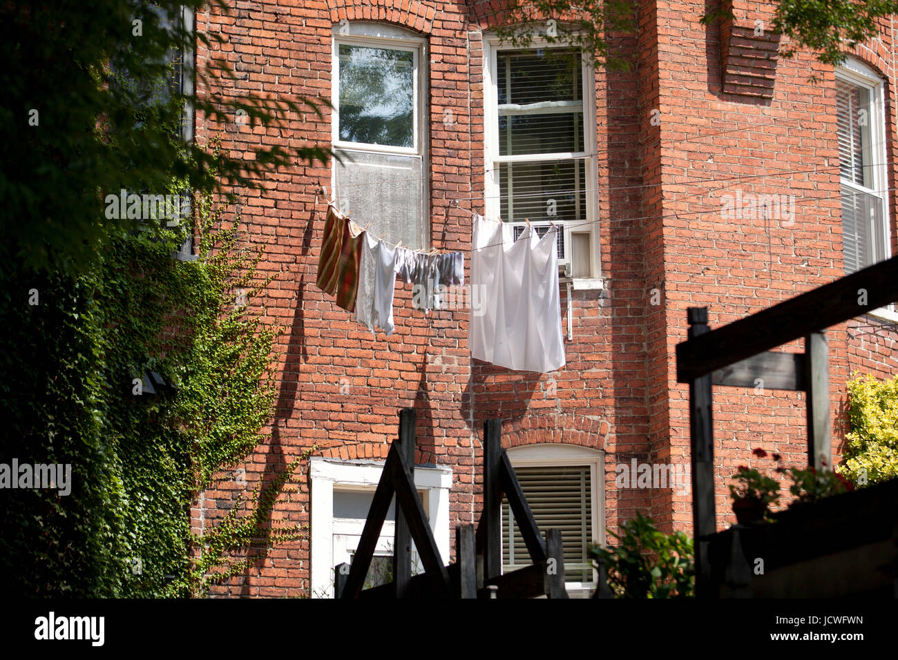 Laundry drying on clothesline - USA - Stock Image