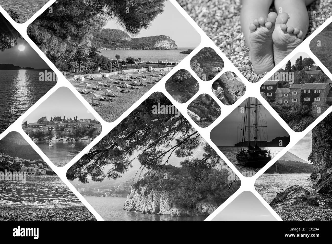The collage of Montenegro landscape in summer. Travel vacation background. Black and white - Stock Image
