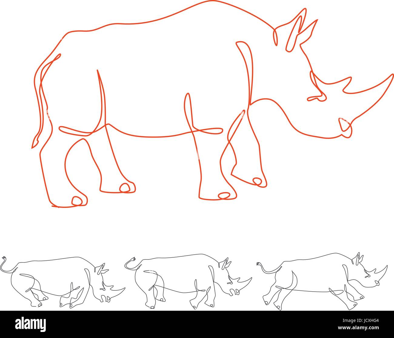 rhino walking and running continuous one line art - Stock Image
