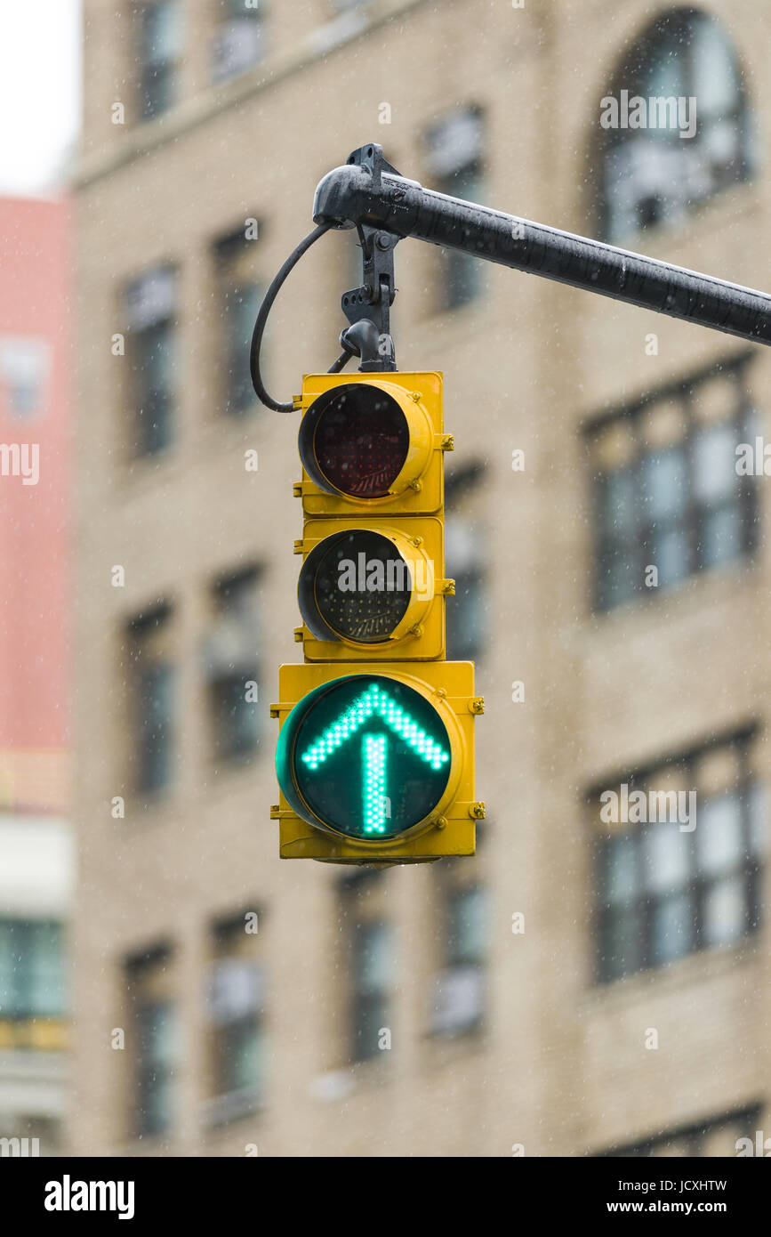 Green Arrow Traffic Light, New York, United States of America - Stock Image