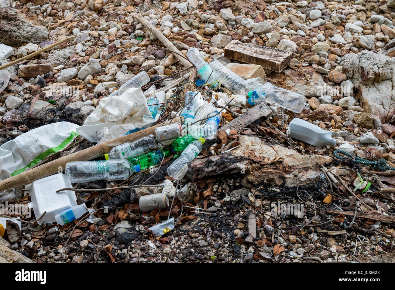 Trash in the ocean washed up on the beach - Stock Image