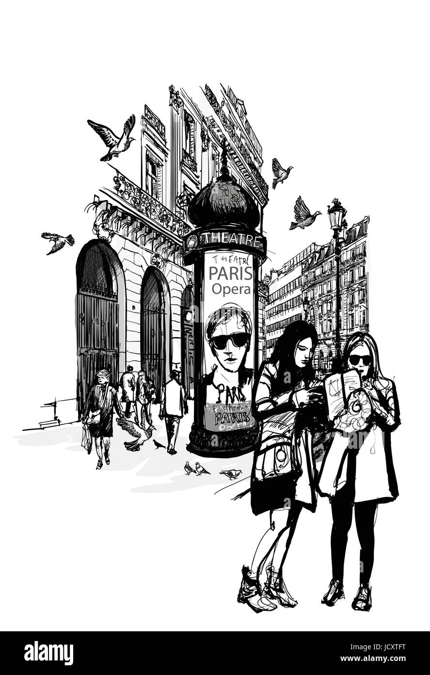 Girls in Paris near opera looking for direction - vector illustration - Stock Vector