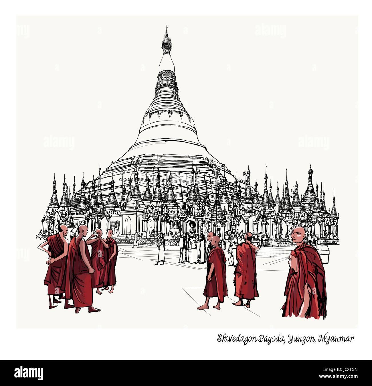 Yangon, Myanmar view of Shwedagon Pagoda - vector illustration - Stock Vector
