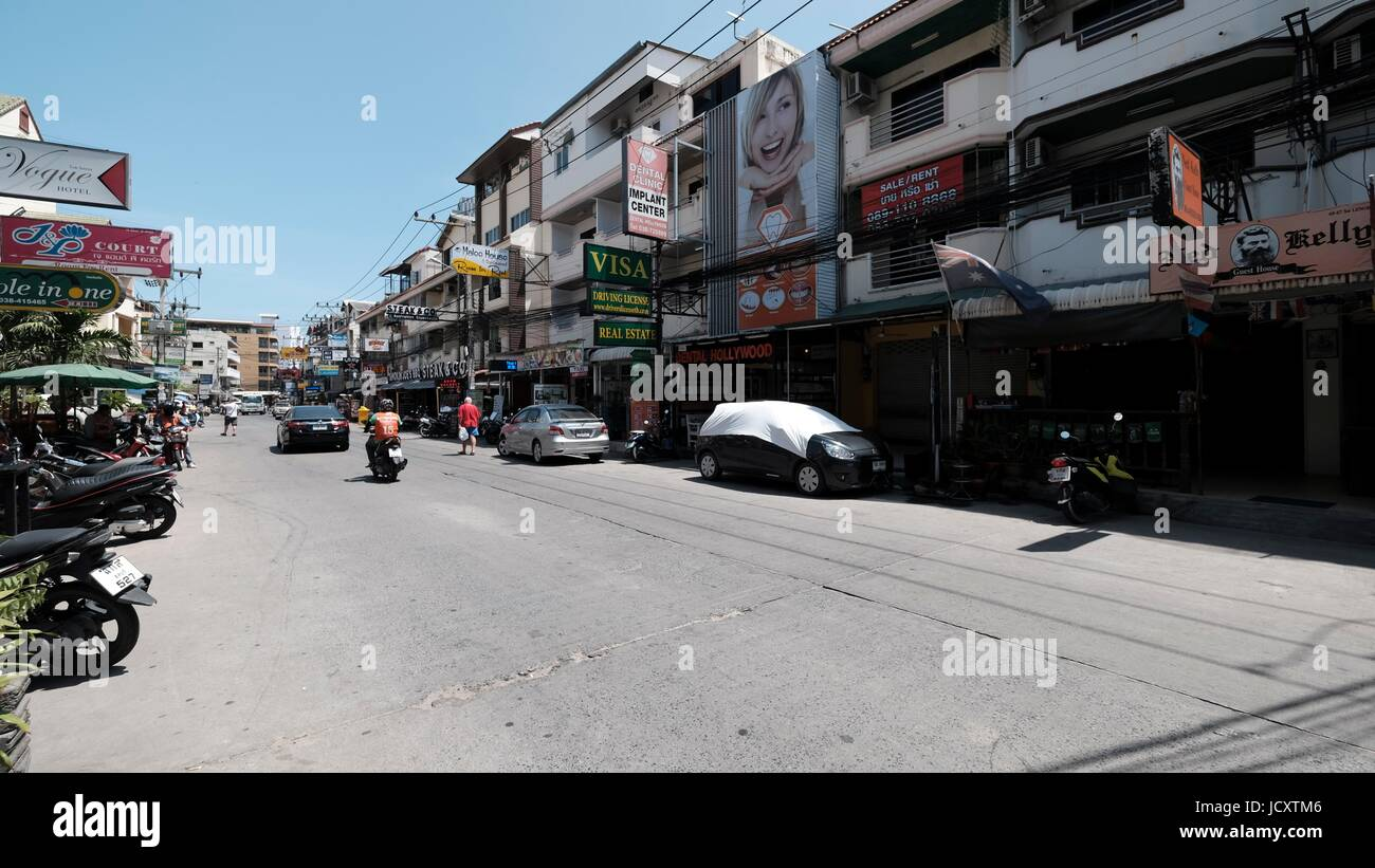 Urban City Scene the Tourist Ghetto at Soi Buakhao, Soi Lengkee and Soi Diana in the  Daytime in Pattaya Beach Chonburi Stock Photo
