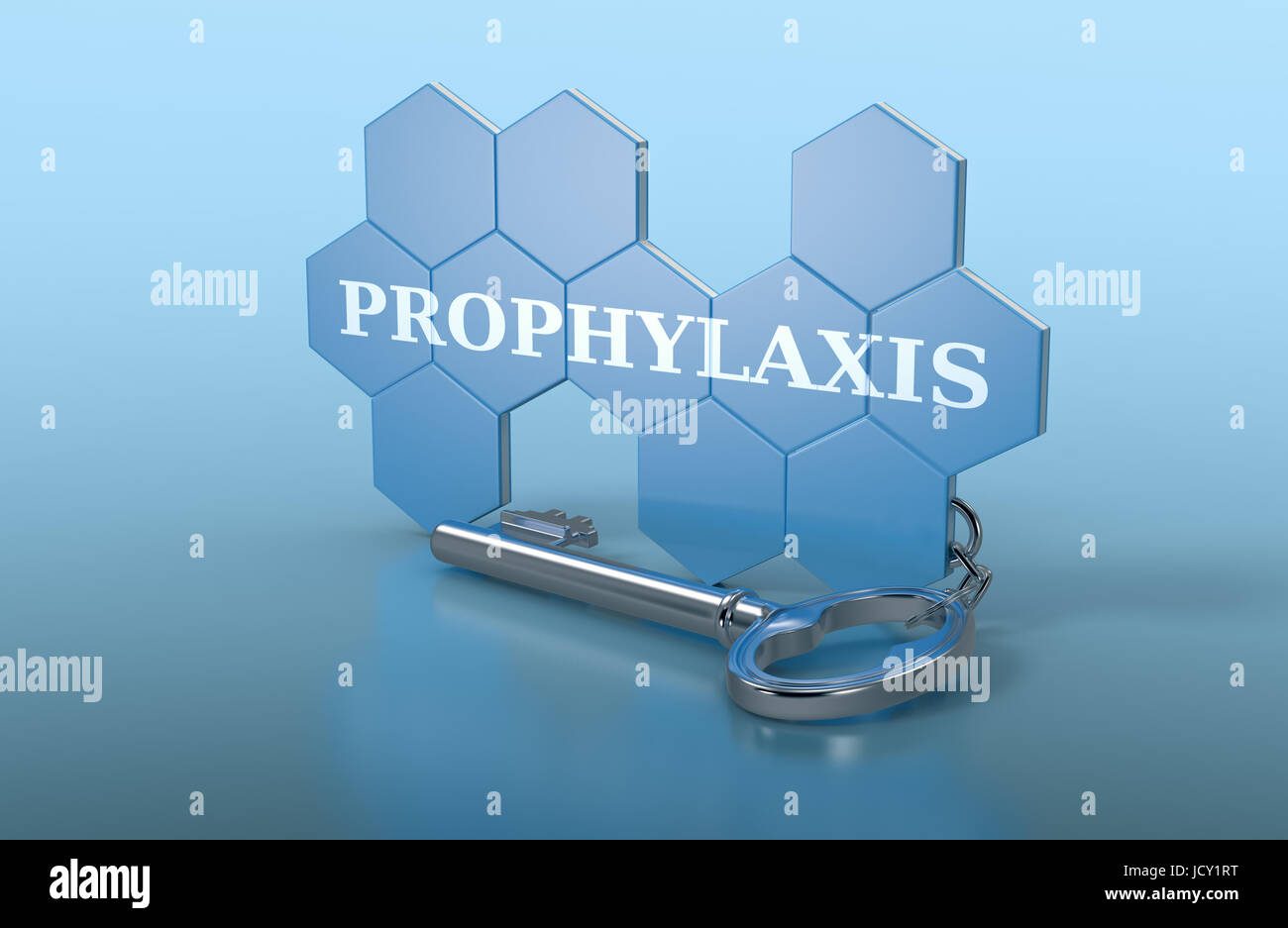 hexagon structure shaped as a keyring with text: prophylaxis (3d render) - Stock Image