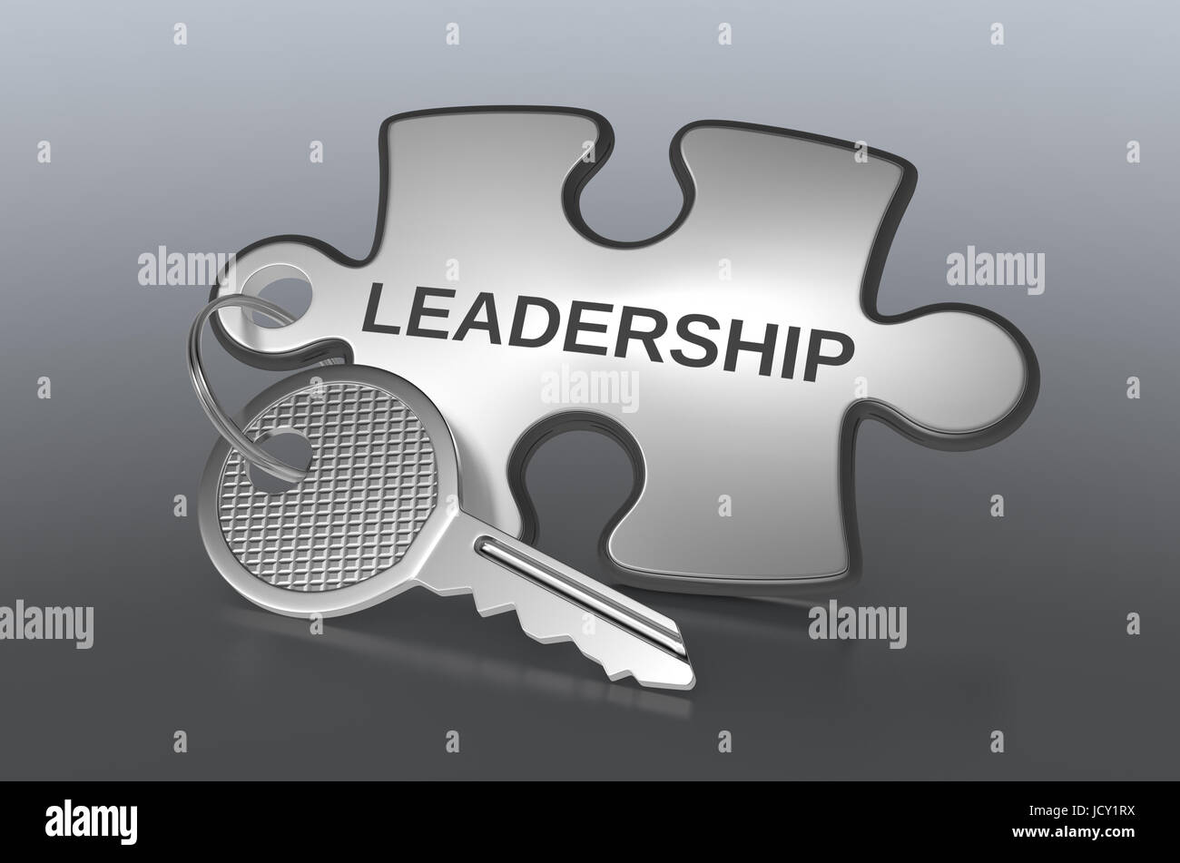 one jigsaw puzzle with text: leadership, concept illustration (3d render) - Stock Image