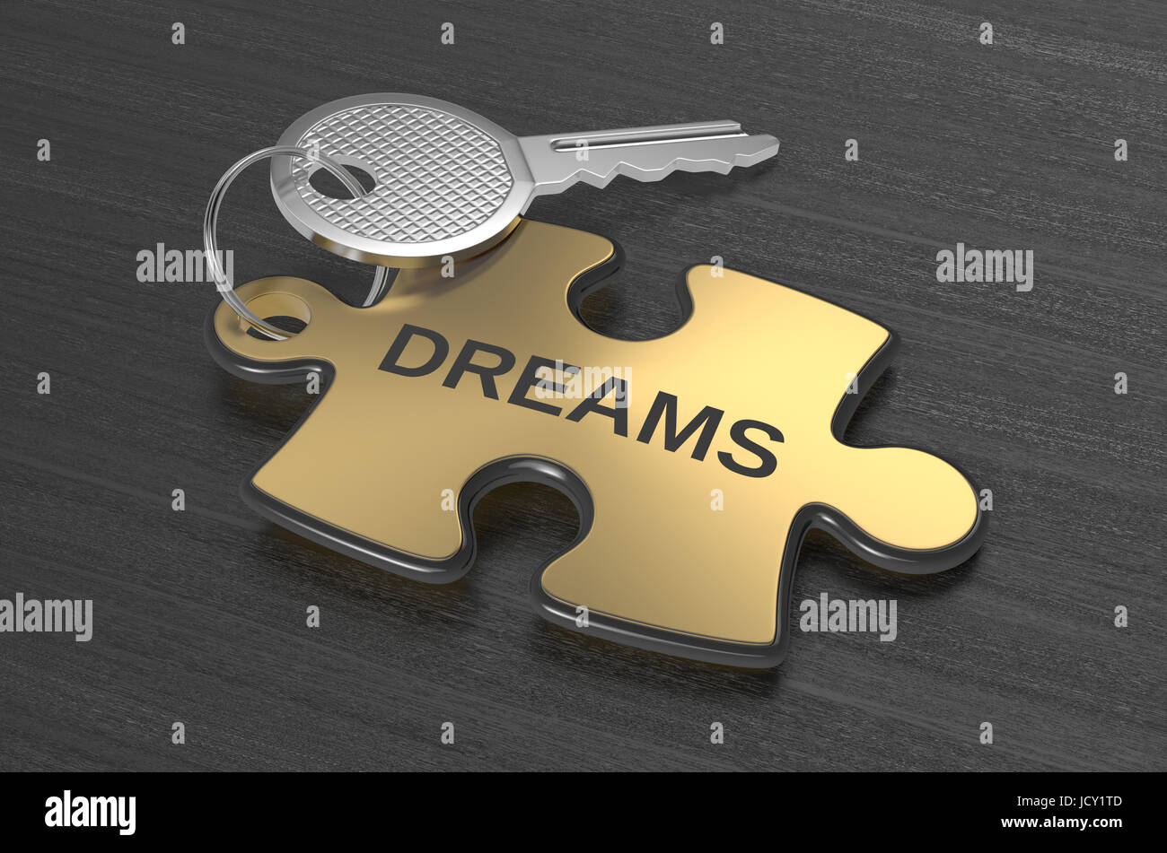 one jigsaw puzzle with text: dreams, concept illustration (3d render) - Stock Image