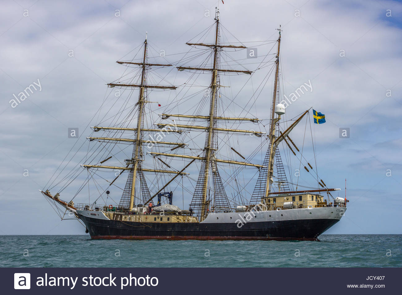 At anchor in the Nab Anchorage off the Isle of Wight, the Swedish training ship TS Gunilla on an annual UK visit. - Stock Image