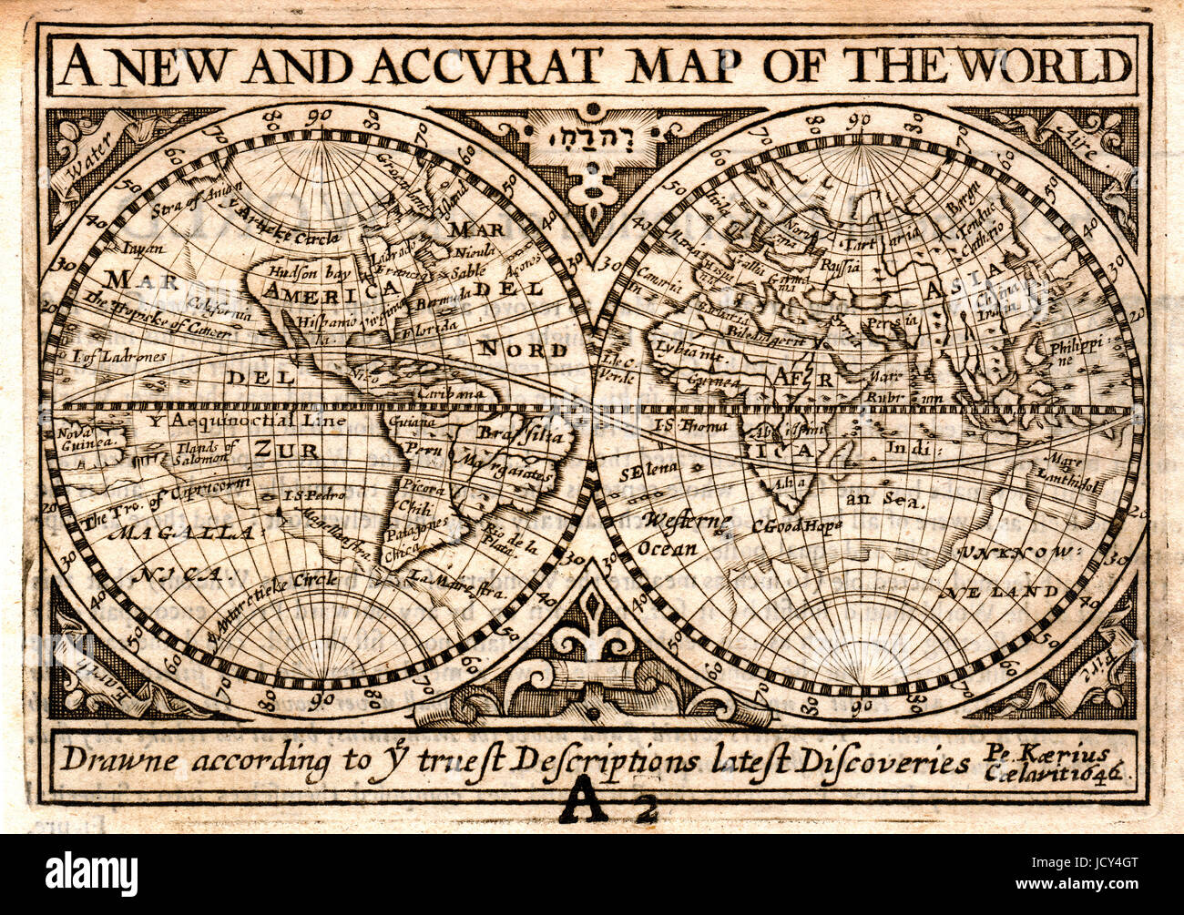 1646 Petrus Kaerius, also know as Peter van der Keere, World Map in Hemisphere originally published in John Speed's Stock Photo
