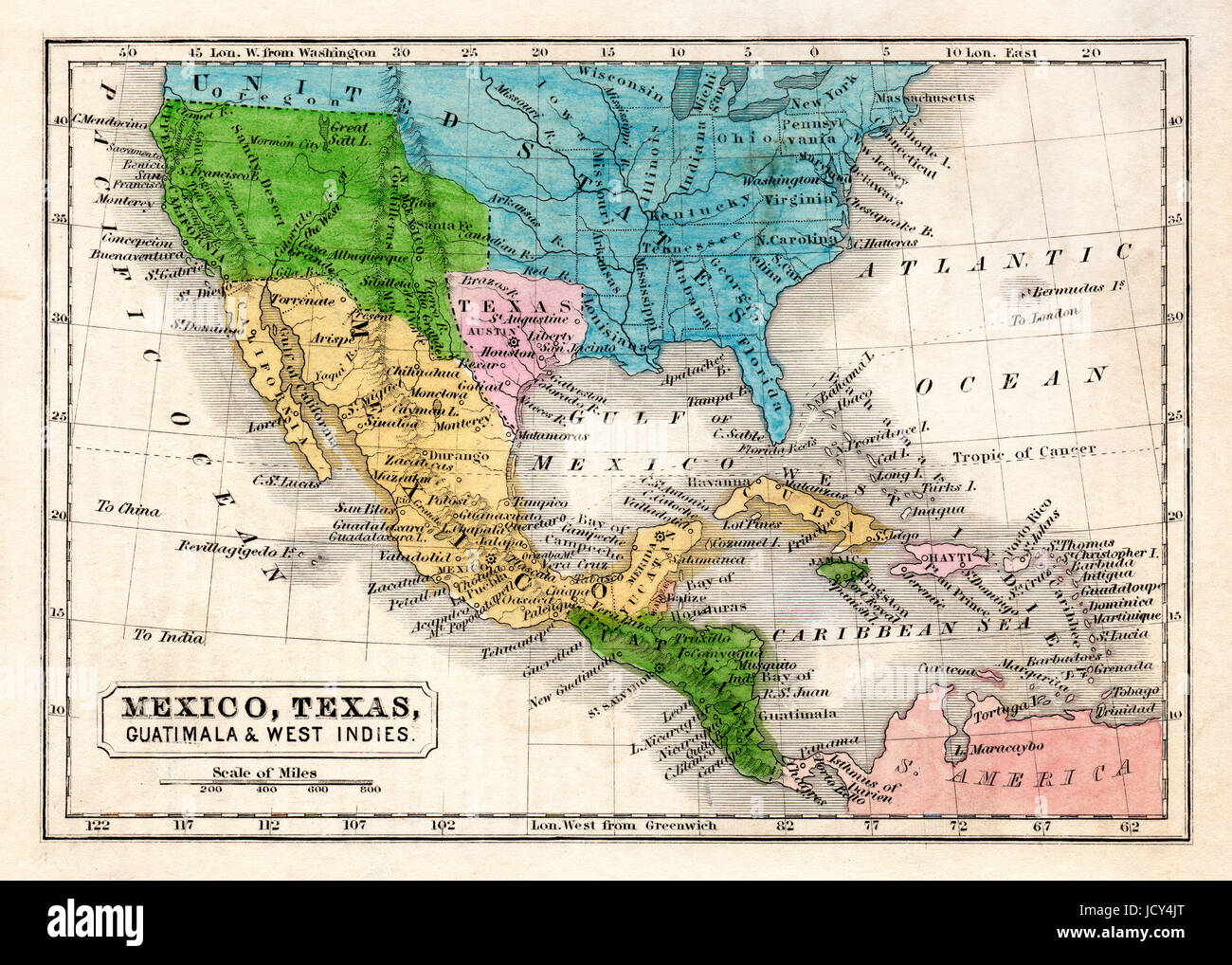 1845 Boynton Map of the Republic of Texas, Mexico, Guatemala, West Indies, Upper California and the United States. - Stock Image