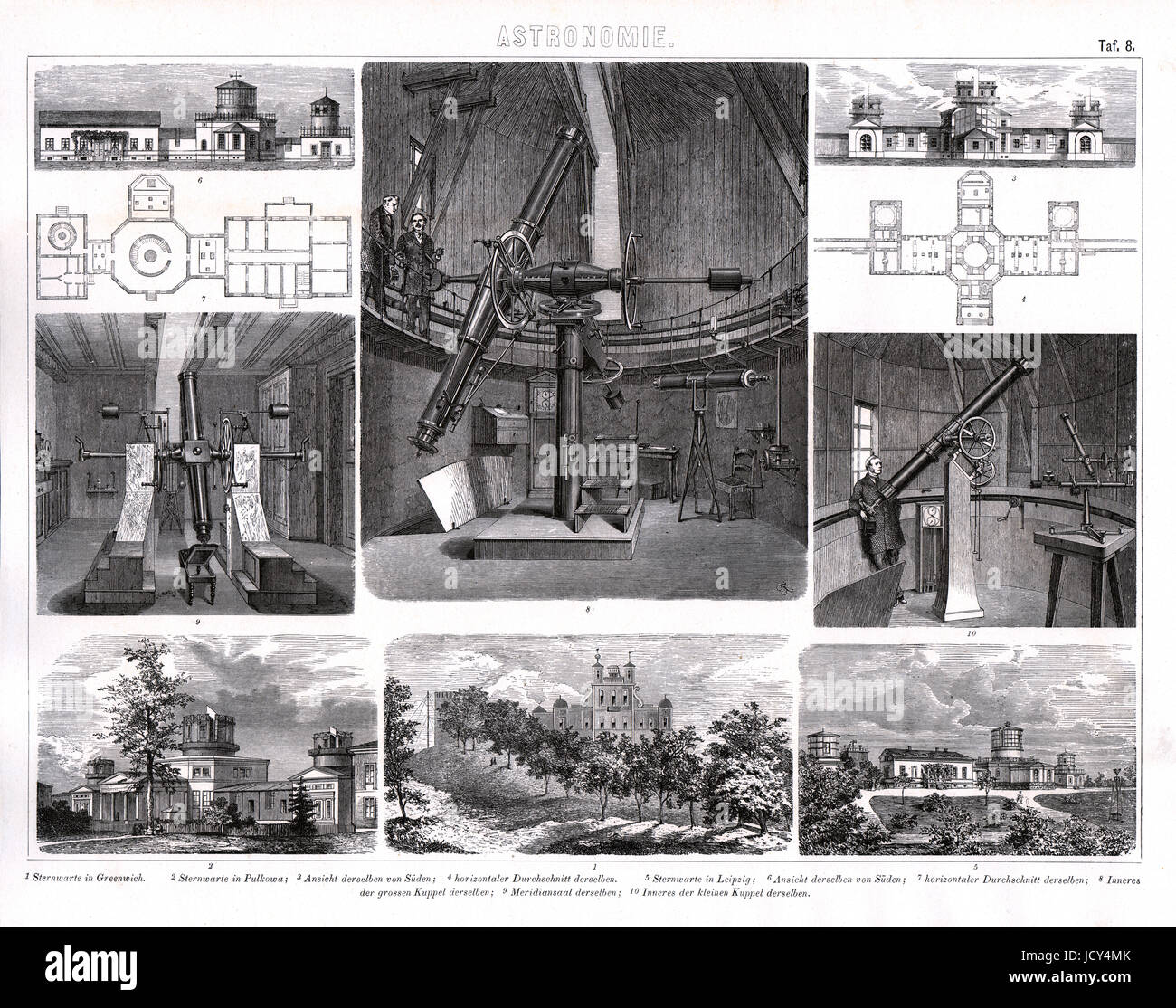 1874 German Bilder Print of the Pulkovo Observatory near St. Petersburg Russia and the Greenwich ans Leipzig Observatories. - Stock Image