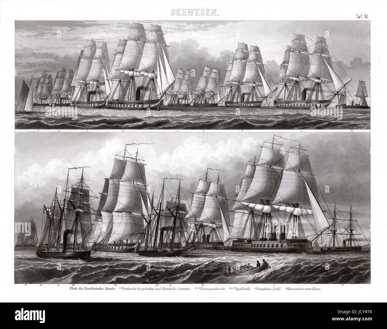 Flotilla of German Warships utilizing hybrid technology of steam power and sails. - Stock Image