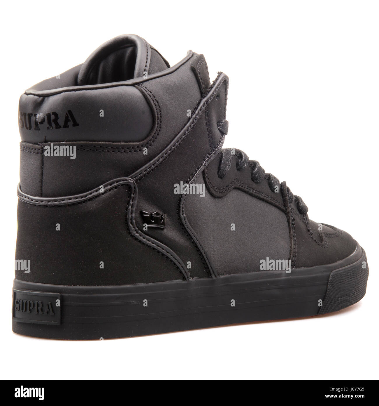 50282132a8 Supra Vaider Black Leather Men's Shoes - S28192 Stock Photo ...