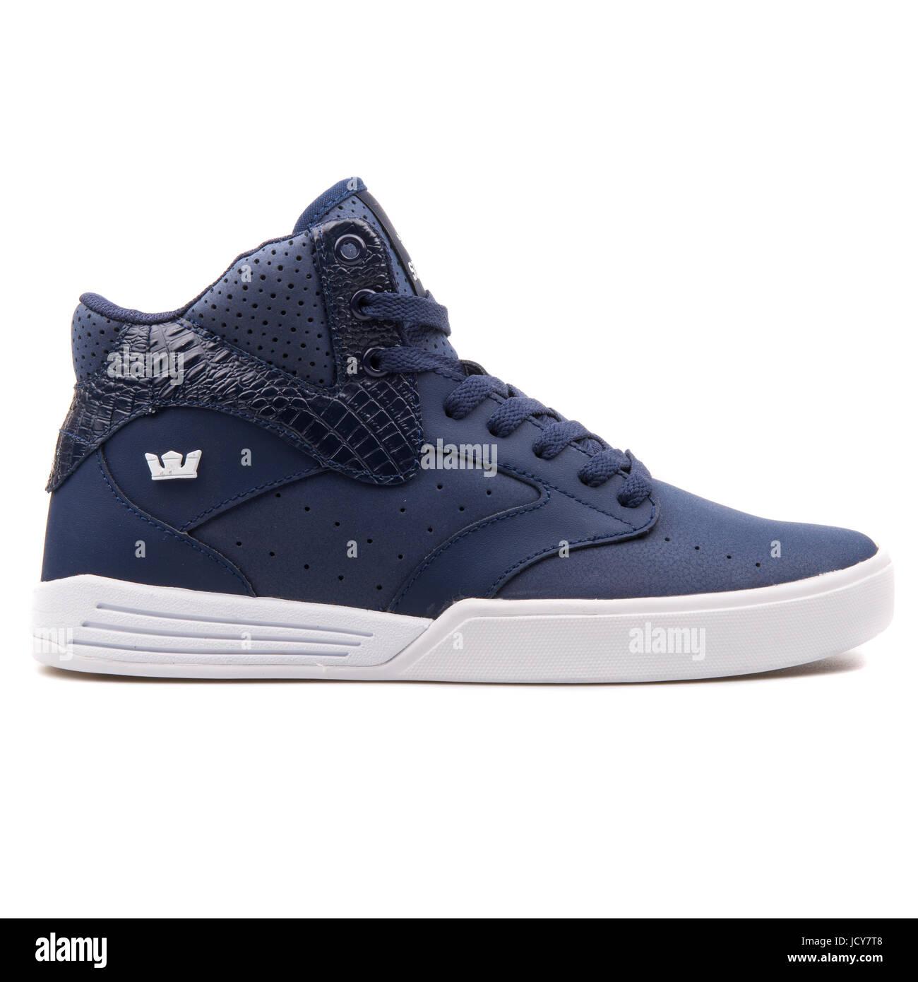 3503ca8d8ba Supra Khan Navy Blue and White Men's hi Shoes - S16022 Stock Photo ...