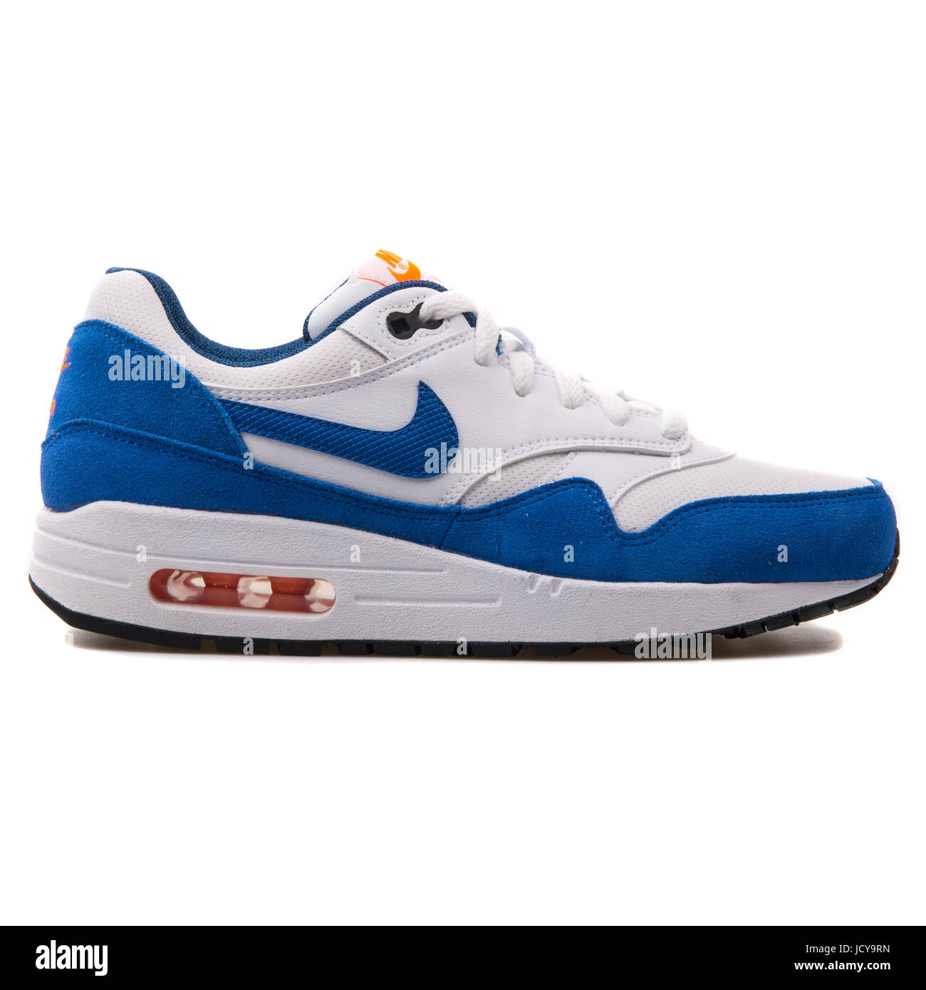 246b0924 Nike Air Max 1 (GS) White and Royal Blue Youth's Running Shoes - 555766-120