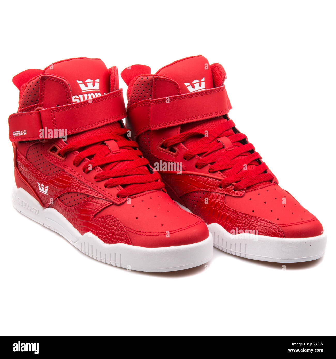 brand new 7a6ae 70257 Supra Bleeker Cardinal Red and White Men s Sports Shoes - S02108 - Stock  Image