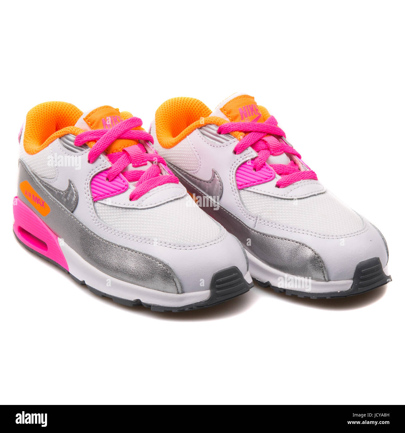 79cd293fcc Nike Air Max 90 Mesh (TD) White, Silver Orange and Pink Toddler's Running