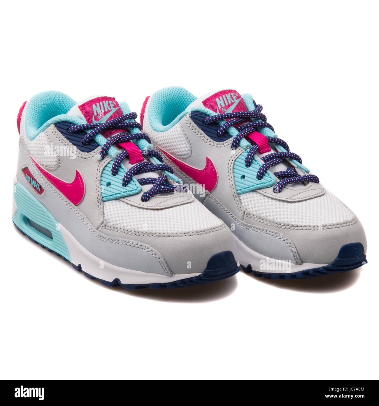 size 40 912e9 ad232 Nike Air Max 90 Mesh (PS) White, Grey, Pink and Turquoise Kids Running Shoes  - 724856-102
