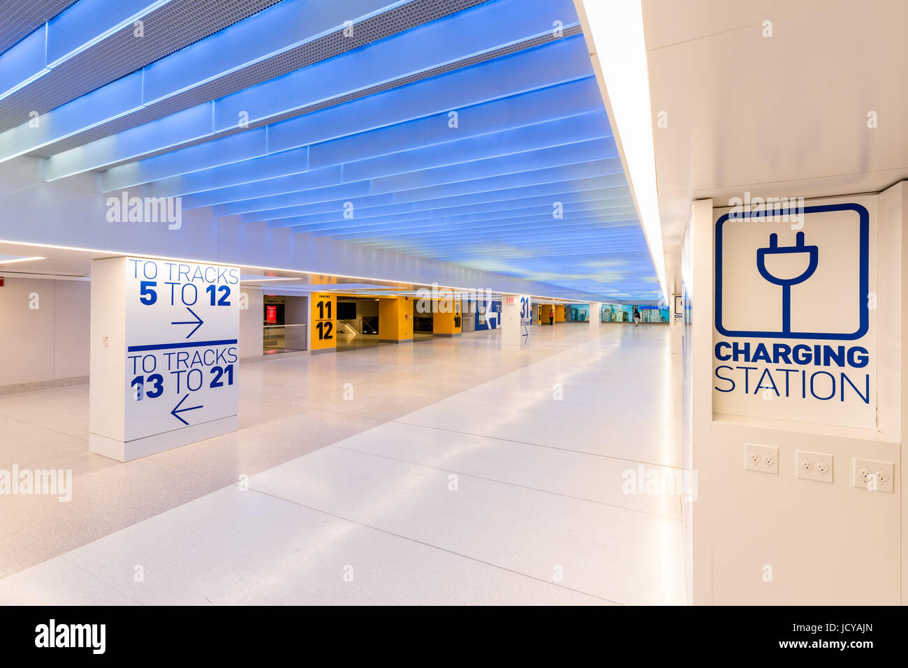 New York City, NY - June 15, 2017: Newly opened Penn Station renovation below the James A. Farley Post Office, Manhattan, - Stock Image