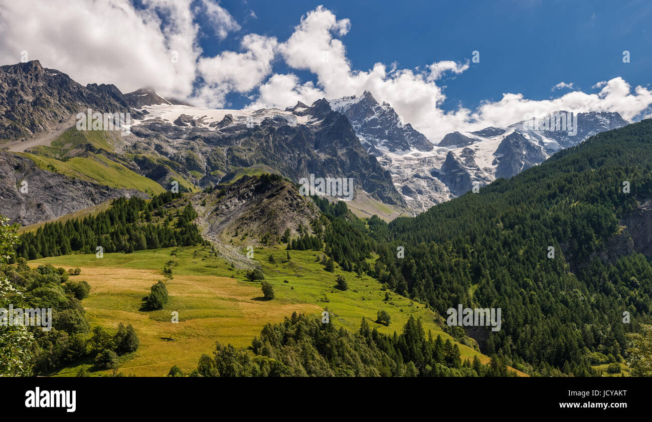 La Meije Glacier in Ecrins National Park from the village of La Grave. Hautes-Alpes. Alps, France - Stock Image