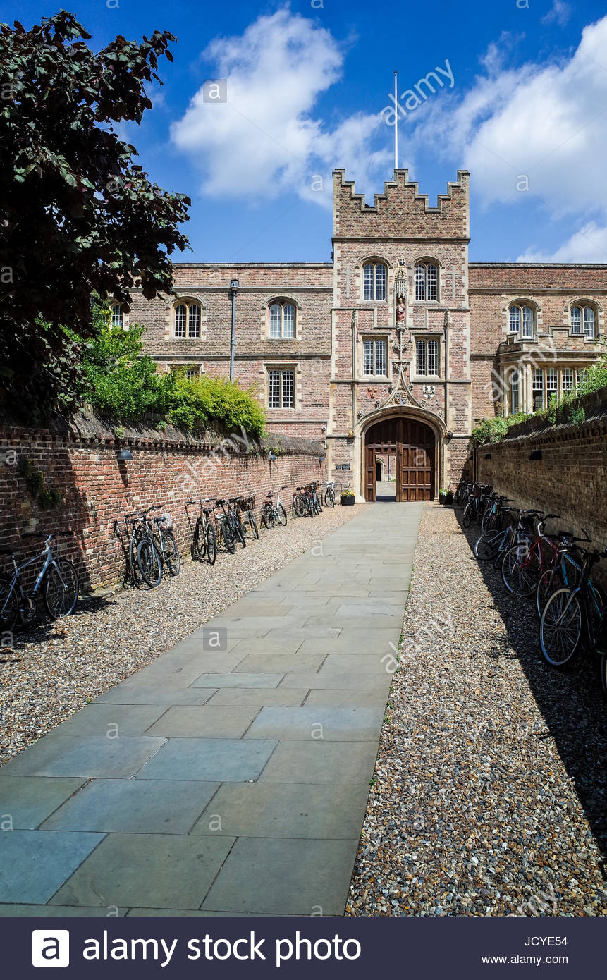 The entrance to Jesus College Cambridge, part of the University of Cambridge. The entrance is known as the Chimney. Stock Photo