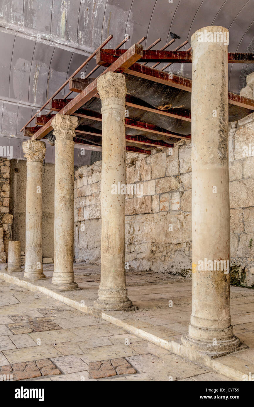 The Cardo excavation reconstruction of the main street from Byzantine era in the Old City of Jerusalem, Israel. Stock Photo