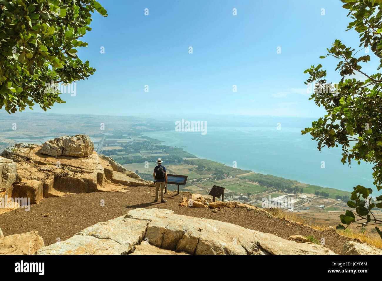 A scenic view of the Sea of Galilee from Mount Arbel, Lower Galilee,  Israel. - Stock Image