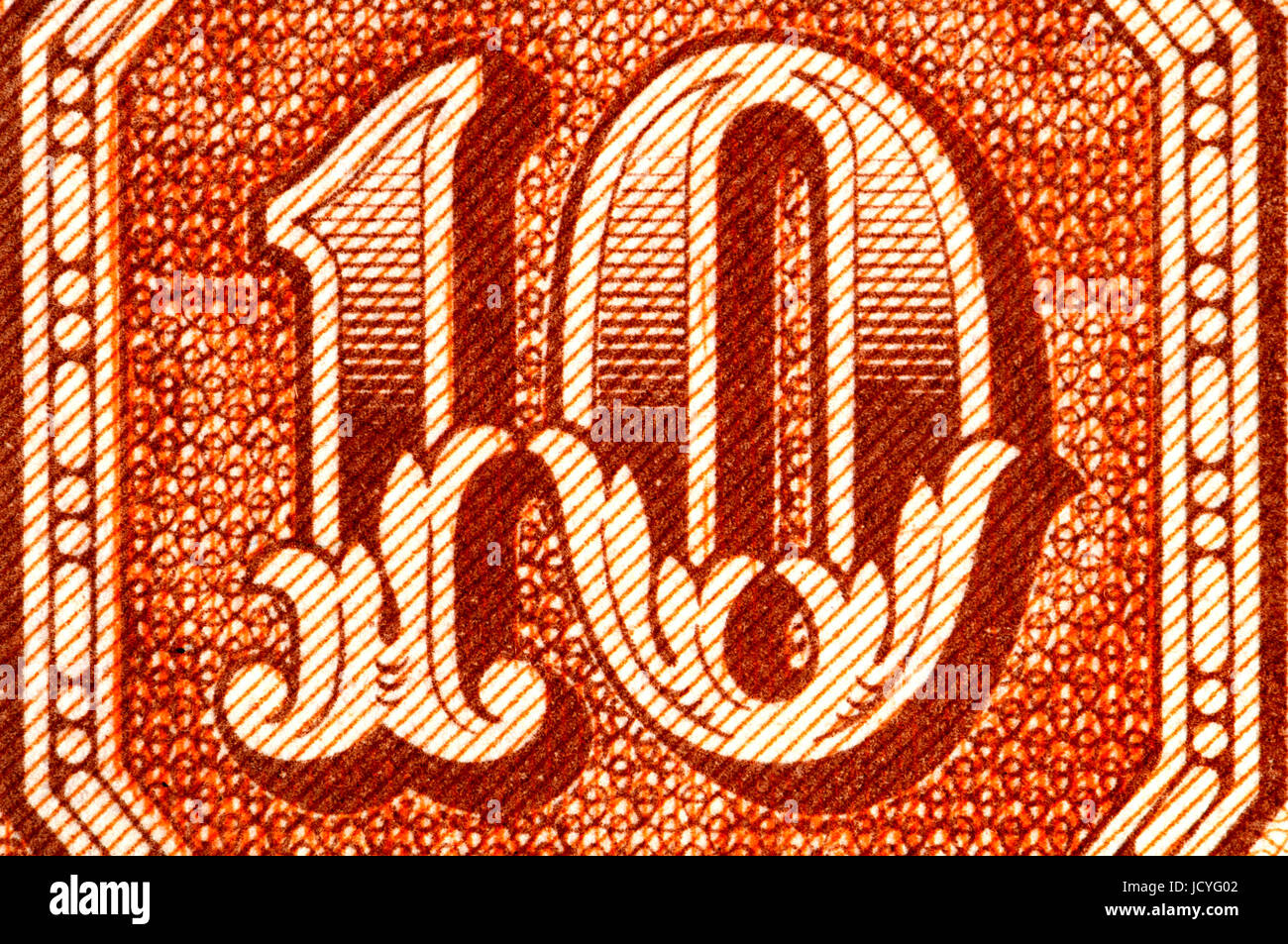 Detail from a 10kc Czech banknote showing the number 10 - Stock Image