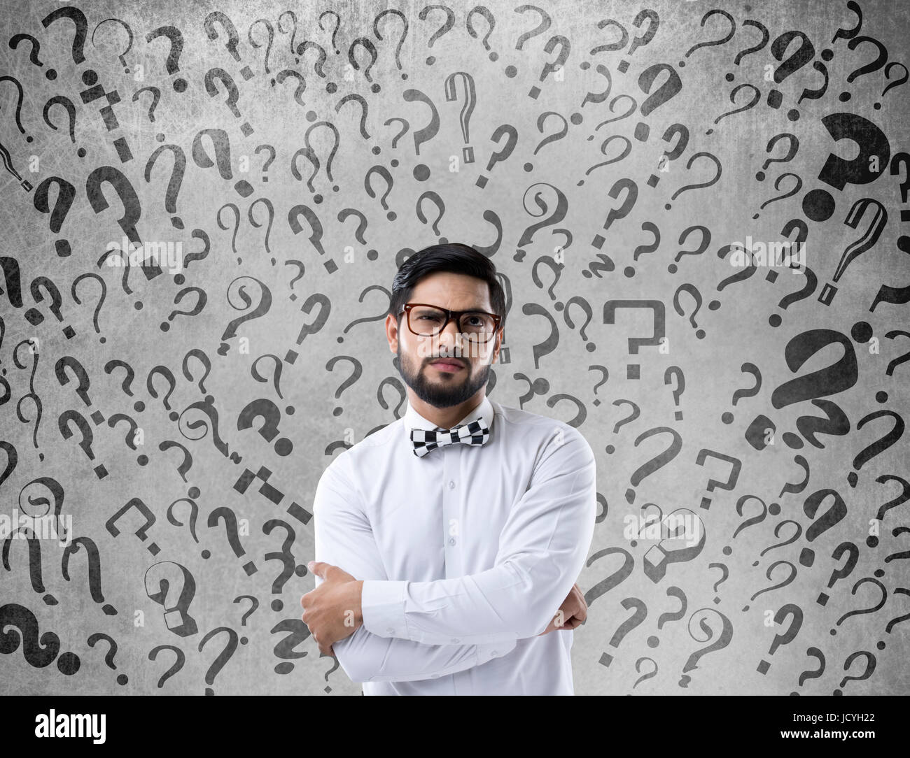 Thoughtful confused businessman - Stock Image