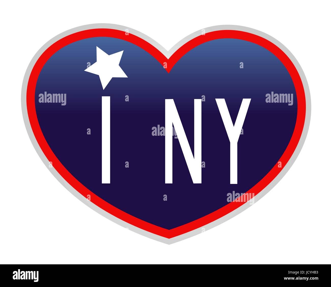 I Love New York Blue Heart American Symbol Icon Stock Vector Art