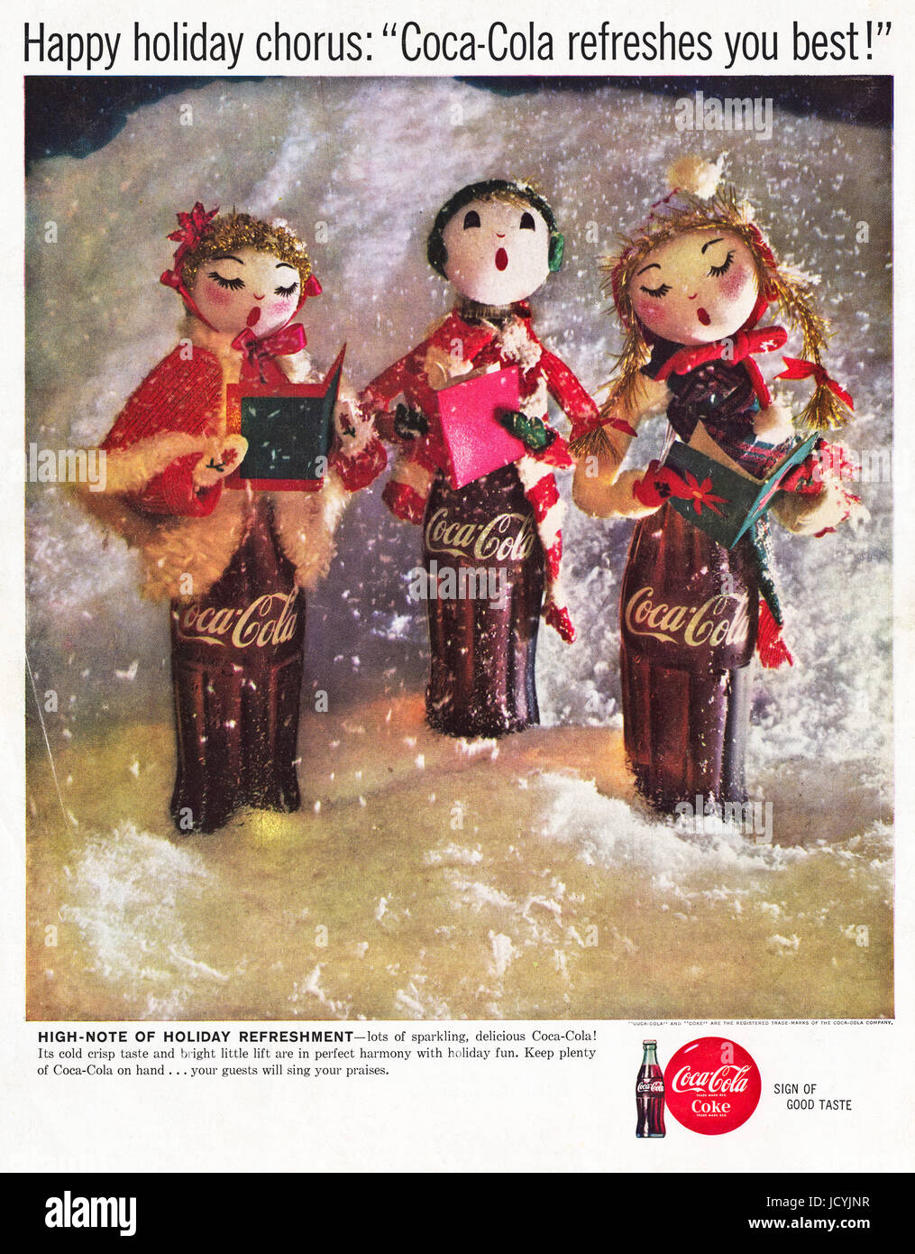 1960s advertisement advertising Coca-Cola at Christmas in International edition of American magazine dated 5th December - Stock Image