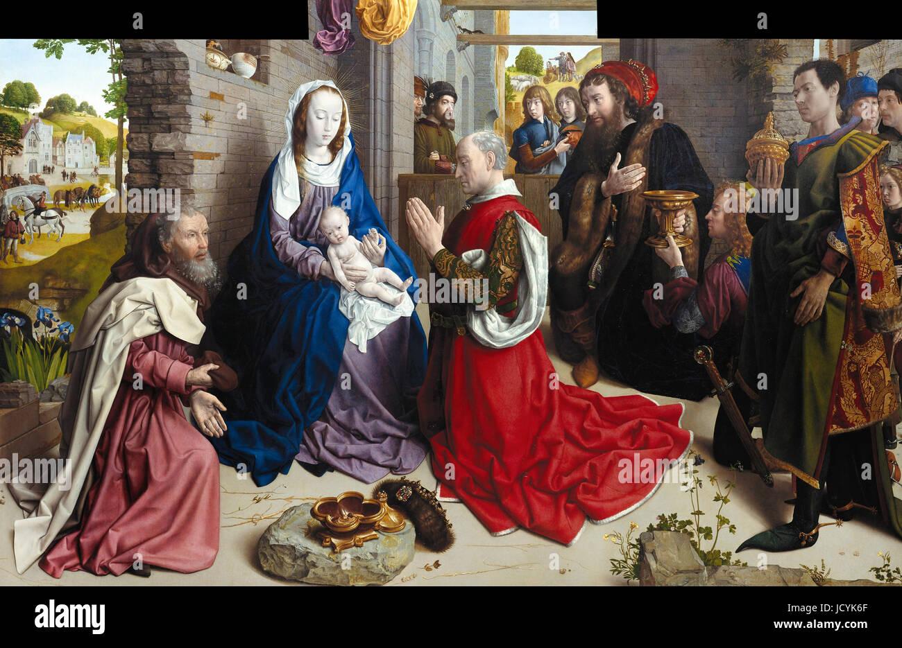 Hugo van der Goes, The Adoration of the Kings (Monforte Altar) Circa 1470. Oil on panel. Gemaldegalerie, Berlin, - Stock Image