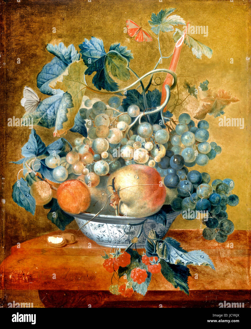 Jan van Huysum, A Delft Bowl with Fruit. Circa 1730. Oil on panel. Dulwich Picture Gallery, London, England. - Stock Image