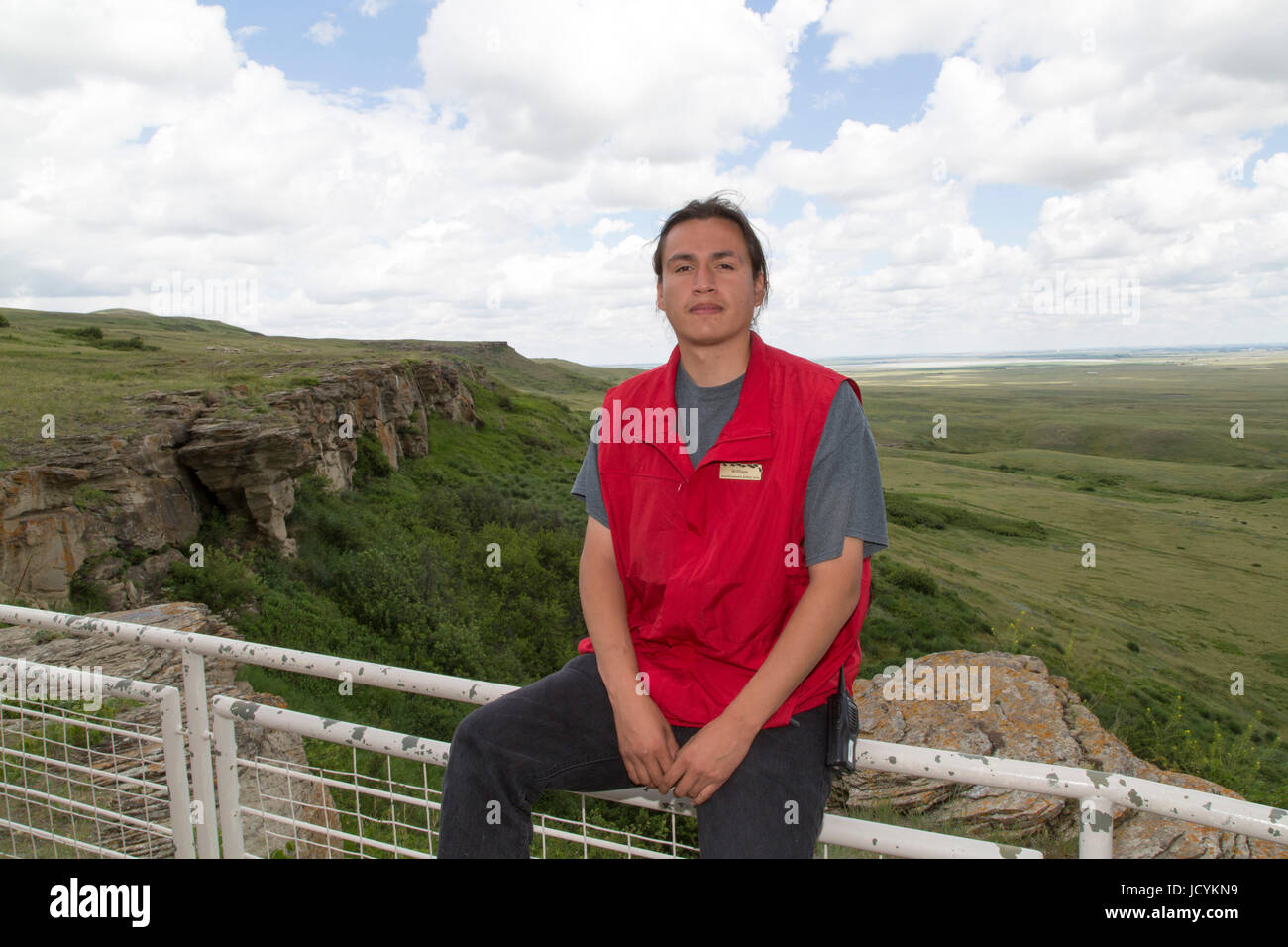 William, an interpretive guide at Head-Smashed-In Buffalo Jump in Alberta,  Canada, The First Nations' hunting ground was used for 6,000 years and is t