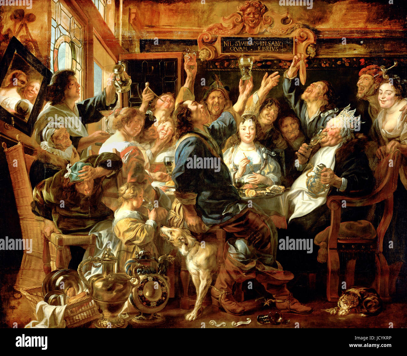 Jacob Jordaens, The Feast of the Bean King 1640-1645 Oil on canvas. Kunsthistorisches Museum, Vienna, Austria. - Stock Image
