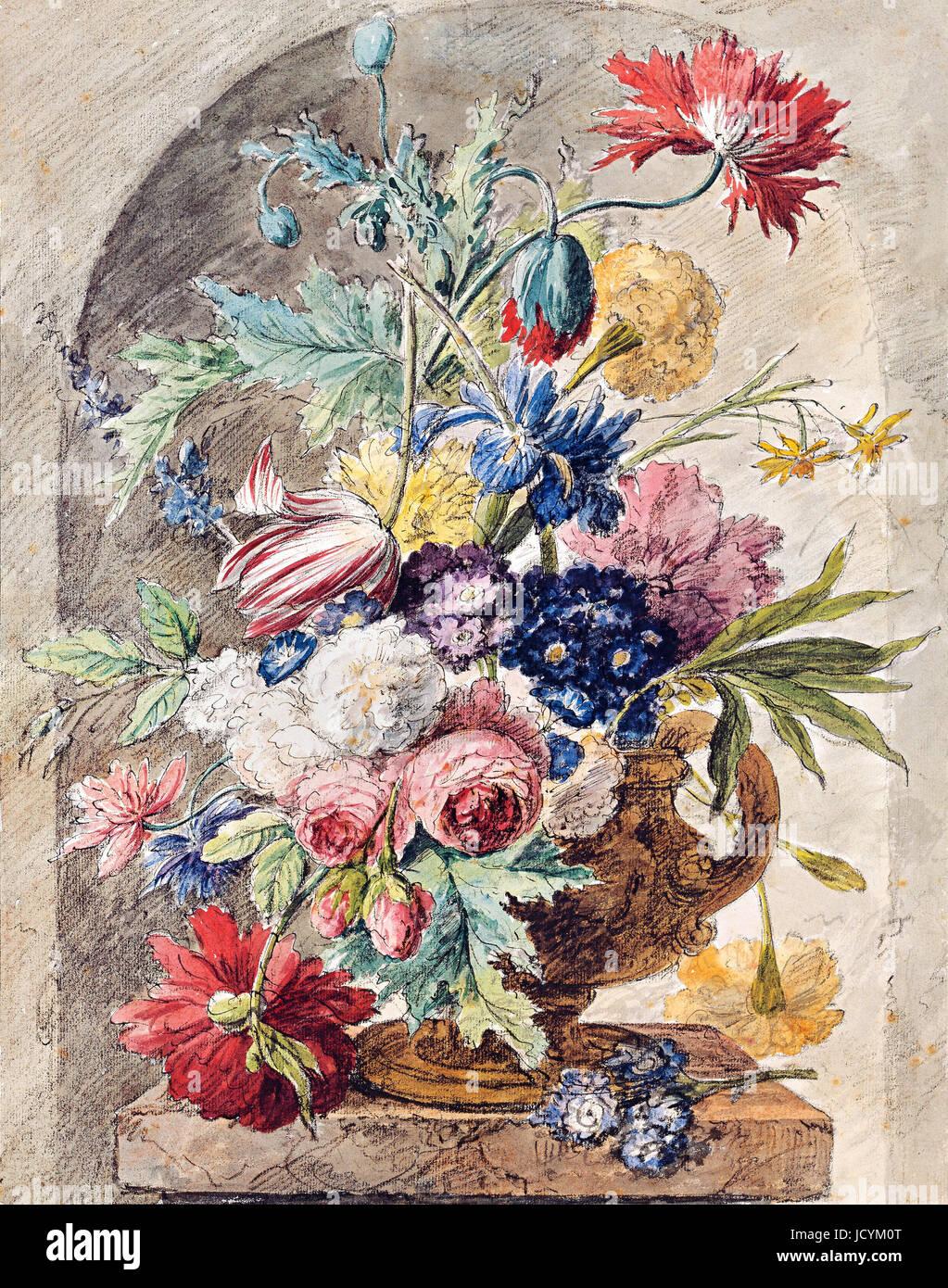 Jan van Huysum, Flower Still Life 1722 Oil on panel. Drawing: black chalk, pen, ink, watercolor. Albertina, Vienna, - Stock Image