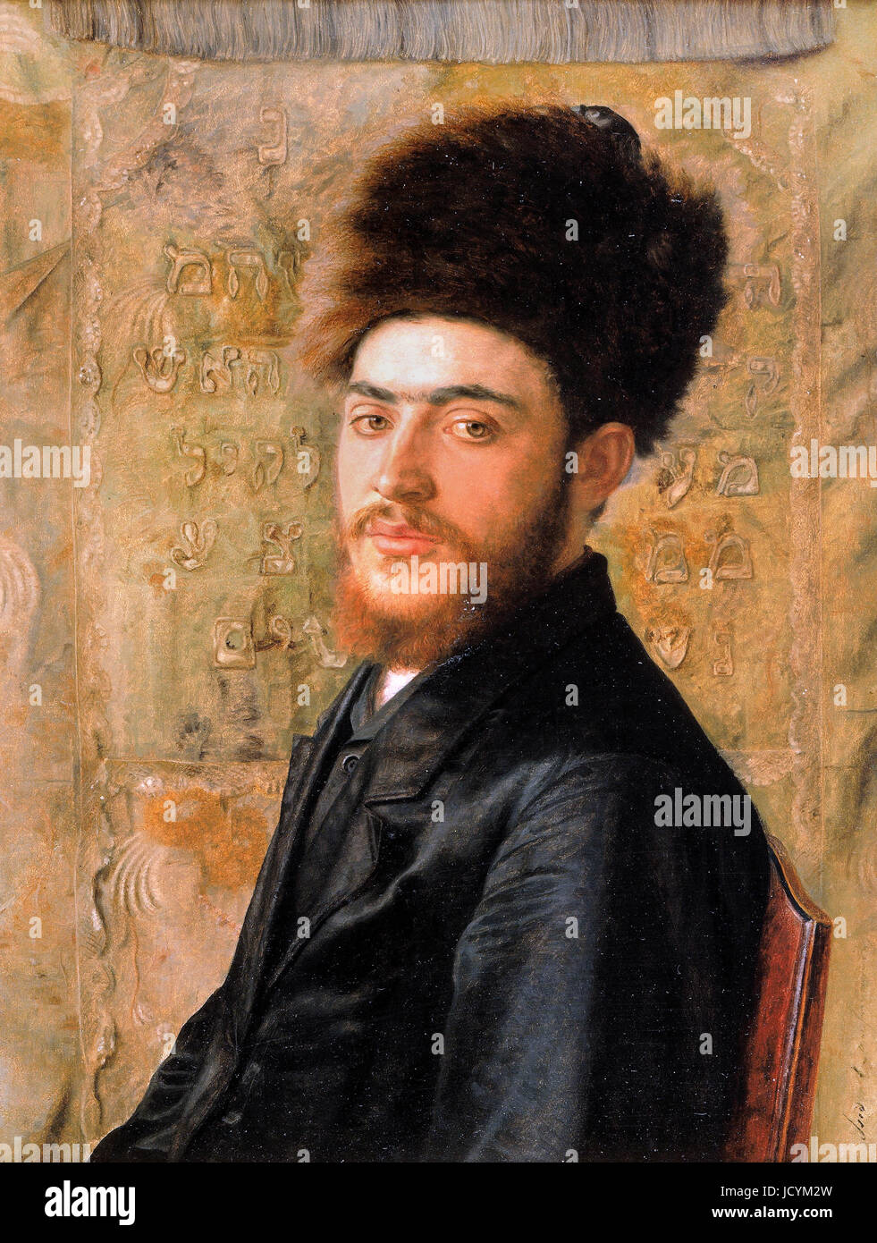 Isidor Kaufmann, Man With Fur Hat. Circa 1910. Oil on panel. The Jewish Museum, New York City, USA. - Stock Image