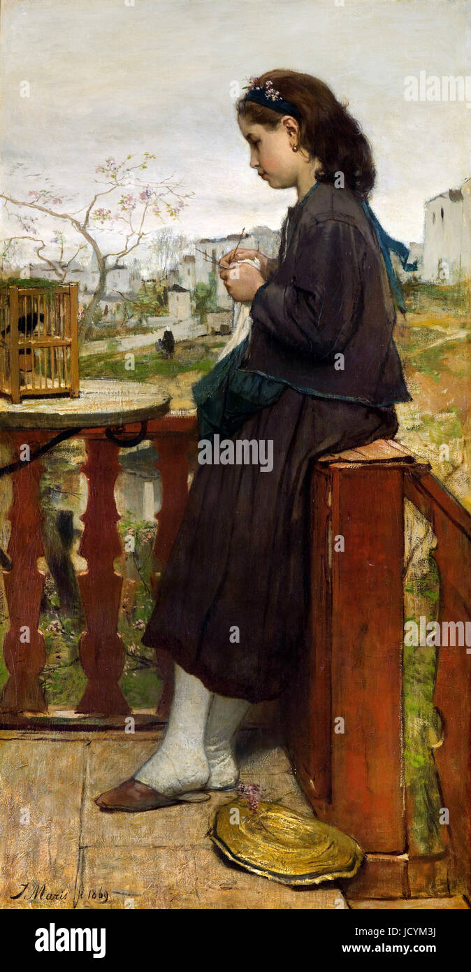 Jacob Maris, 1869 Girl Knitting on a Balcony, Montmartre. Oil on canvas. Gemeentemuseum Den Haag, The Hague, Netherlands. - Stock Image